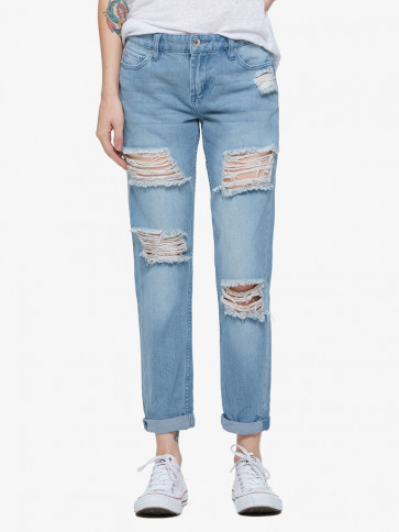 OBEY JEANS DONNA EX-BOYFRIEND DISTRESSED INDIGO
