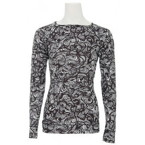 BURTON LONG SHIRT DONNA BW LIGHTWEIGHT CREW TRUE BLACK TIDAL WAVE PRINT