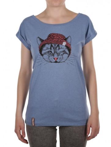 IRIEDAILY T-SHIRT DONNA BLINK CAT TEE P.HAZE MEL