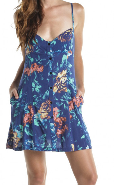 INSIGHT VESTITO DONNA 90S DRESS BLUE FLORAL