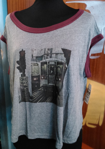 OBEY T-SHIRT DONNA YOUR SIGNAL HEATHER GREY/ PORT ROYALE