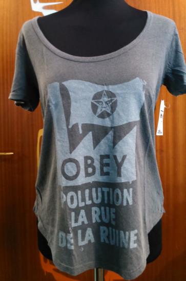 OBEY T-SHIRT DONNA POLLUTION EST RUINE DUSTY GRAPHITE