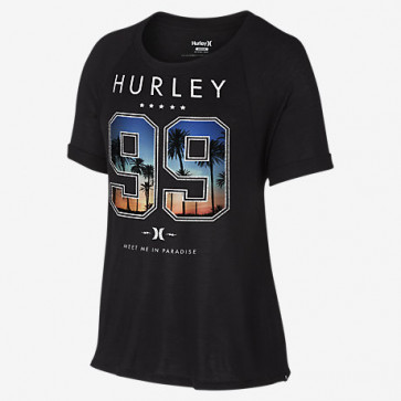 HURLEY T-SHIRT DONNA MEET ME IN PARADISE BLACK