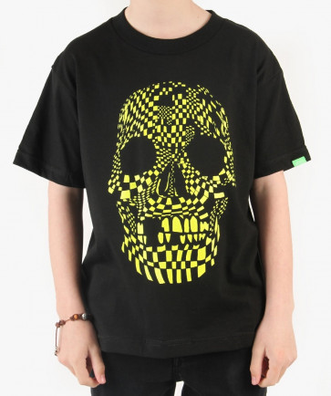 VANS T-SHIRT BIMBO B SKELECHECK BOYS BLACK