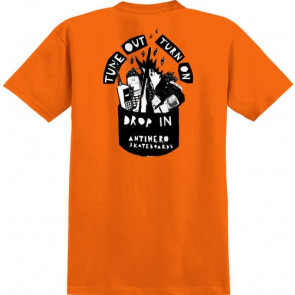 ANTIHERO T-SHIRT UOMO TUNE OUT POCKET ORANGE/BLACK