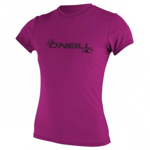 O'NEILL LICRA DONNA WOMENS BASIC SKINS S/S RASH TEE FOX PINK
