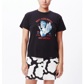OBEY T-SHIRT DONNA BURN BABY BURN SUSTAINABLE BLACK