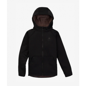 BURTON FELPA BAMBINO KIDS' CROWN WEATHERPROOF FULL-ZIP SHERPA FLEECE TRUE BLACK