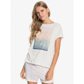 ROXY T-SHIRT DONNA REAL SUMMERTIME HAPPINESS SNOW WHITE