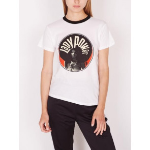 OBEY T-SHIRT DONNA LADY POWER CIRCLE WHITE BLACK