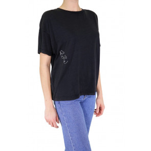 RVCA T-SHIRT DONNA AU REVOIR WASHED BLACK